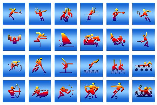 Icons verschiedener Sportarten nebeneinander