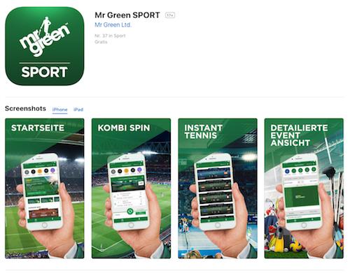 iTunes Seite zur Mr Green Handy App