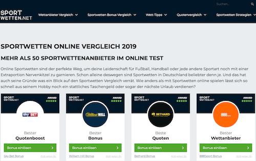 Screenshot der Webseite sportwetten.net