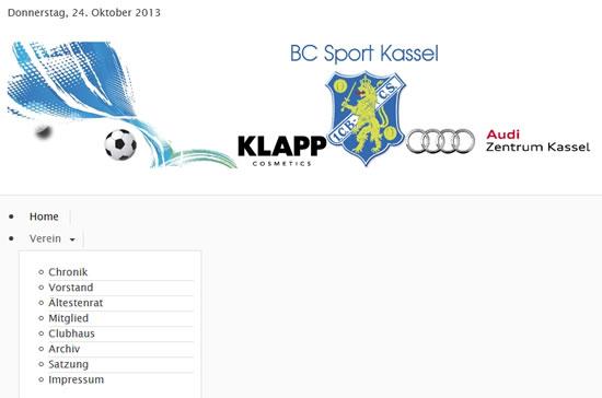 Screenshot der Homepage vom BC Sport Kassel, aufgenommen am 24.10.2013