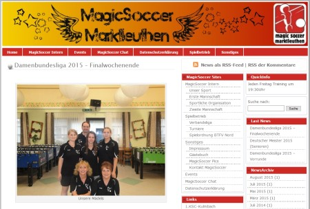 Screenshot der Homepage vom Magic Soccer Marktleuthen, aufgenommen am 26.01.2019