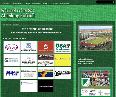 Screenshot der Homepage vom Schönebecker SC, aufgenommen am 04.03.2016
