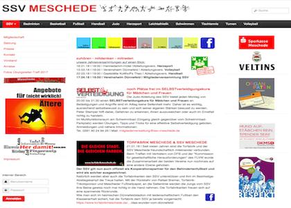 Screenshot der Homepage vom SSV Meschede, aufgenommen am 26.02.2018