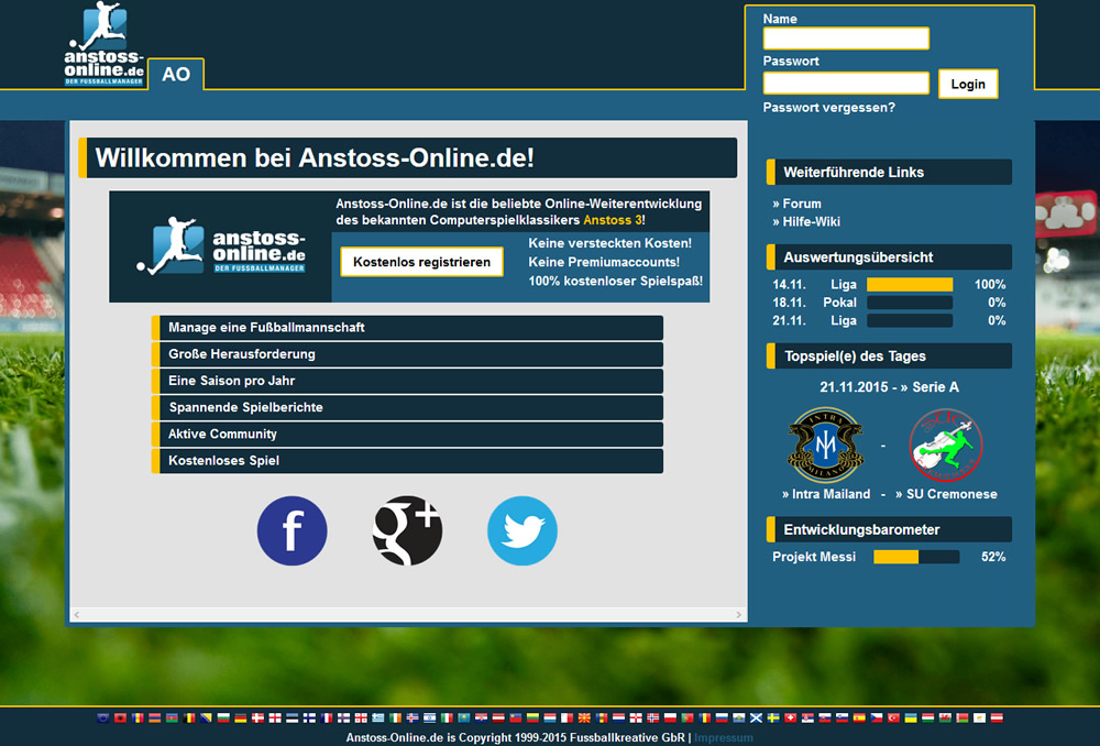 anstoss online spielen
