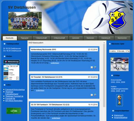 Screenshot der Homepage vom SV Dietzhausen, aufgenommen am 18.12.2014