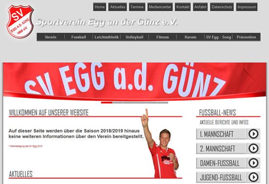 Screenshot der Homepage vom SV Egg, aufgenommen am 05.04.2019