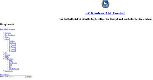 Screenshot der Homepage vom SV Reudern, aufgenommen am 10.06.2017