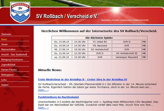 Screenshot der Homepage vom SV Roßbach/Wied, aufgenommen am 11.09.2014