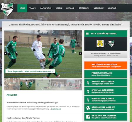 Screenshot der Homepage vom SV Tanne Thalheim, aufgenommen am 13.03.2018