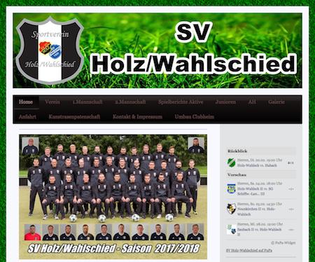 Screenshot der Homepage vom SV Holz Wahlschied, aufgenommen am 23.02.2018