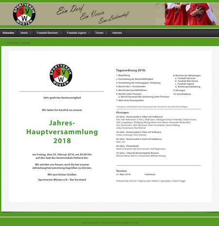 Screenshot der Homepage vom SV Wüsten, aufgenommen am 12.02.2018