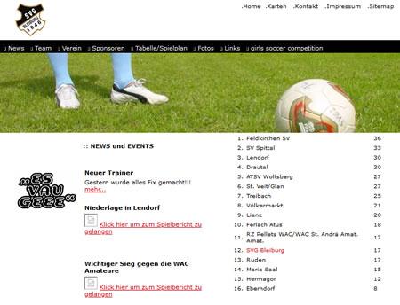 Screenshot der Homepage vom SVG Bleiburg, aufgenommen am 02.01.2012