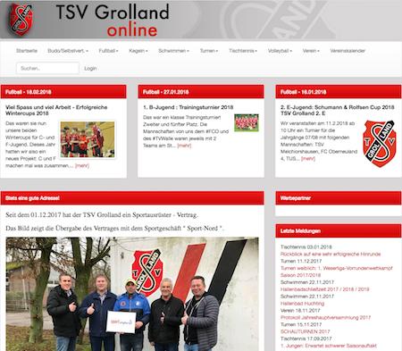 Screenshot der Homepage vom TSV Grolland, aufgenommen am 21.02.2018
