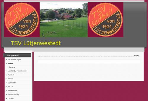 Screenshot der Homepage vom TSV Lütjenwestedt, aufgenommen am 27.03.2016