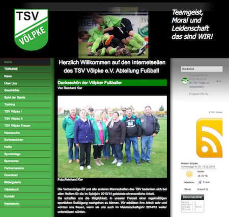 Screenshot der Homepage vom TSV Völpke, aufgenommen am 12.02.2018