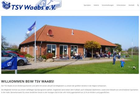 Screenshot der Homepage vom TSV Waabs, aufgenommen am 01.01.2018