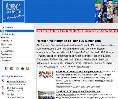 Screenshot der Homepage vom TuS Metzingen, aufgenommen am 15.02.2018