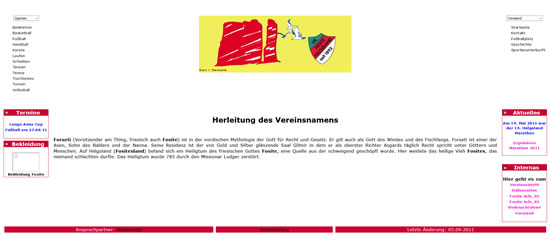 Screenshot der Homepage vom VfL Fosite Helgoland, aufgenommen am 05.09.2011