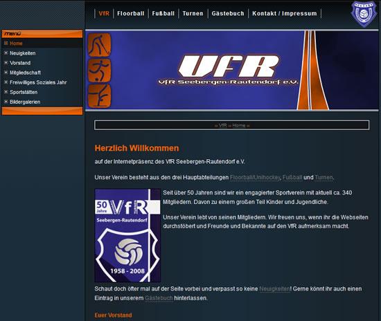 Screenshot der Homepage vom VfR Seebergen-Rautendorf, aufgenommen am 01.03.2016
