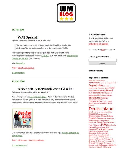 Screenshot der WM-Blogger.de Webseite, aufgenommen am 21.08.2006
